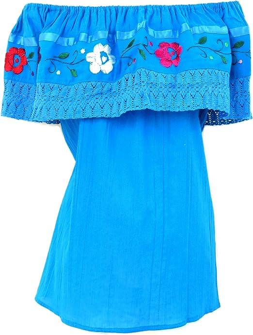 Amazon.com: Leos Imports Blusa mexicana bordada en el hombro ...