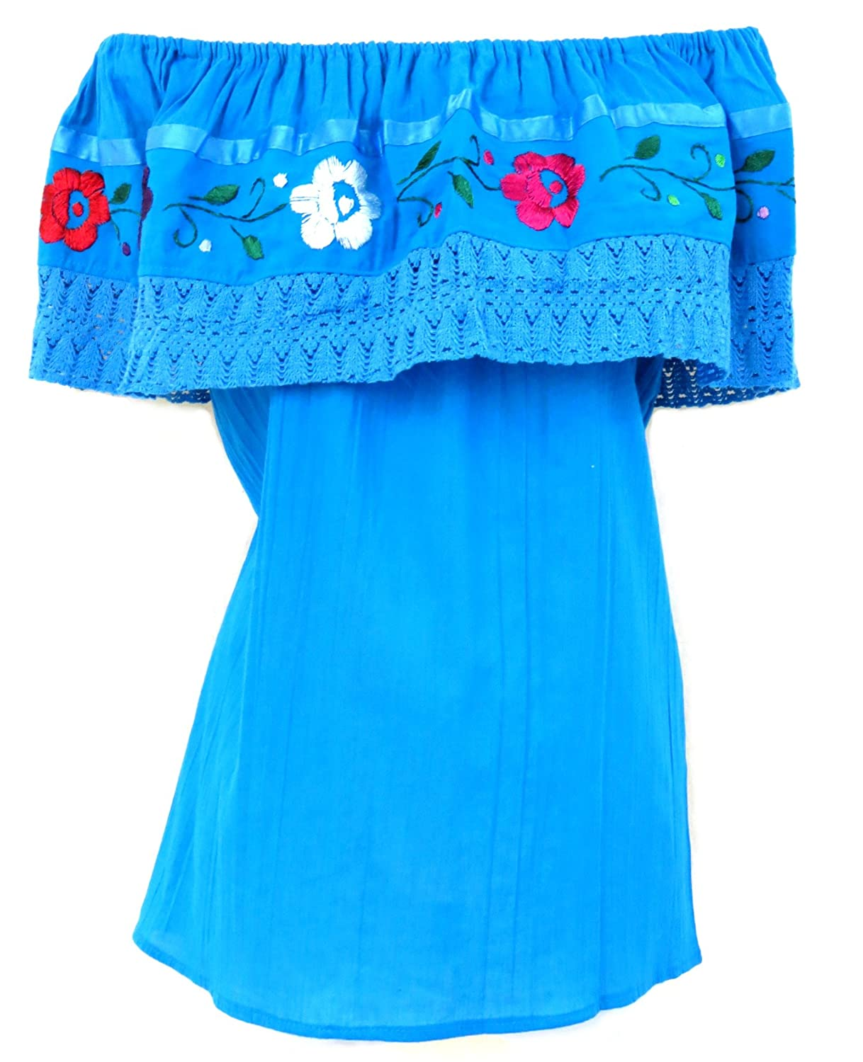Women's Embroidered Crochet Cotton Off-Shoulder Turquoise Mexican Tops - DeluxeAdultCostumes.com