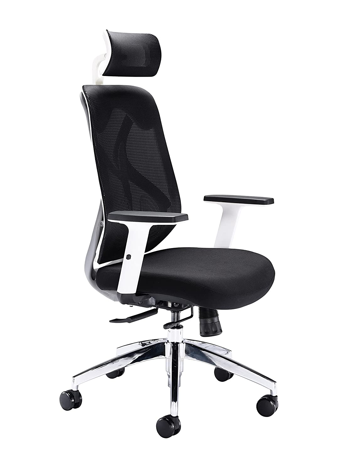 Lumbar Support Office Hippo 2020 High Back Executive Chair with Headrest Seat Slide Height Adjustable Arms Black Mesh 70 x 70 x 98.5 cm Fabric
