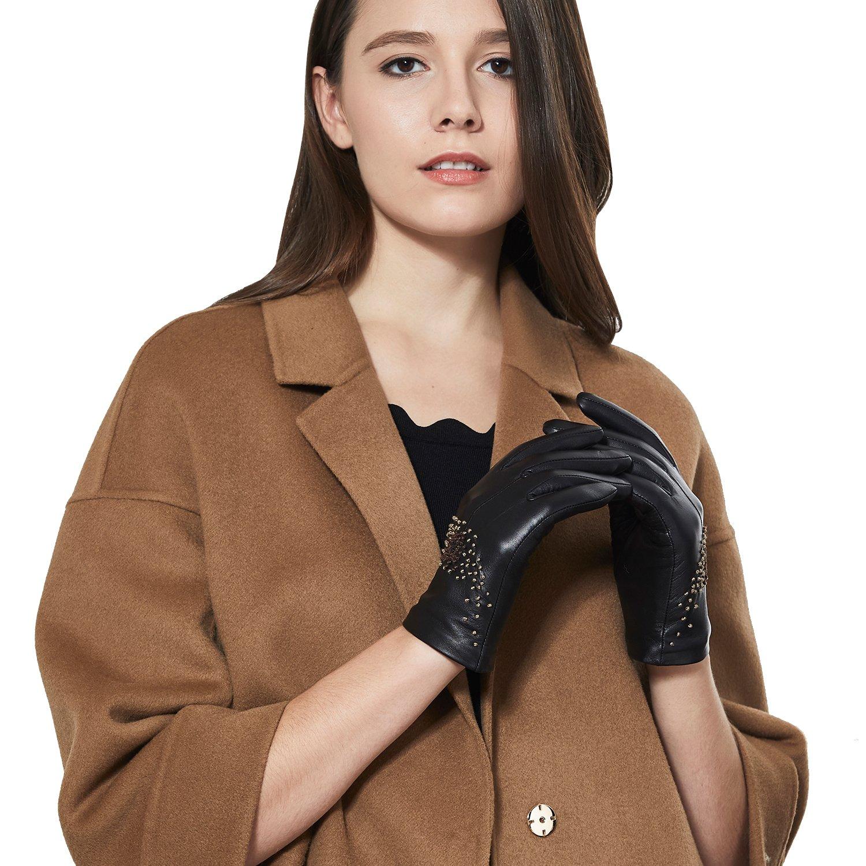 GSG Lady Stickerei Warm Leder Handschuhe Touchscreen Winter Autohandschuhe Pusteblume Kirschbl/üte Italienische Nappa