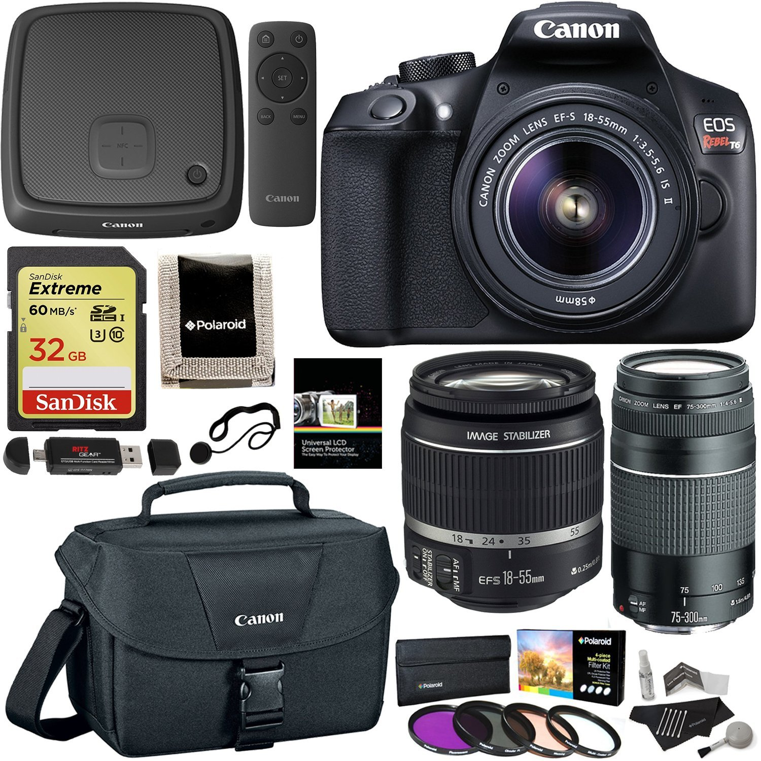 Amazon.com : Canon EOS Rebel T6 Digital SLR Camera Kit with EF-S 18-55mm and EF 75-300mm Zoom Lenses + Polaroid .43x Super Wide Angle & 2.2X HD Telephoto Lens + Polaroid Tripods + Memory Cards + Accessory Bundle