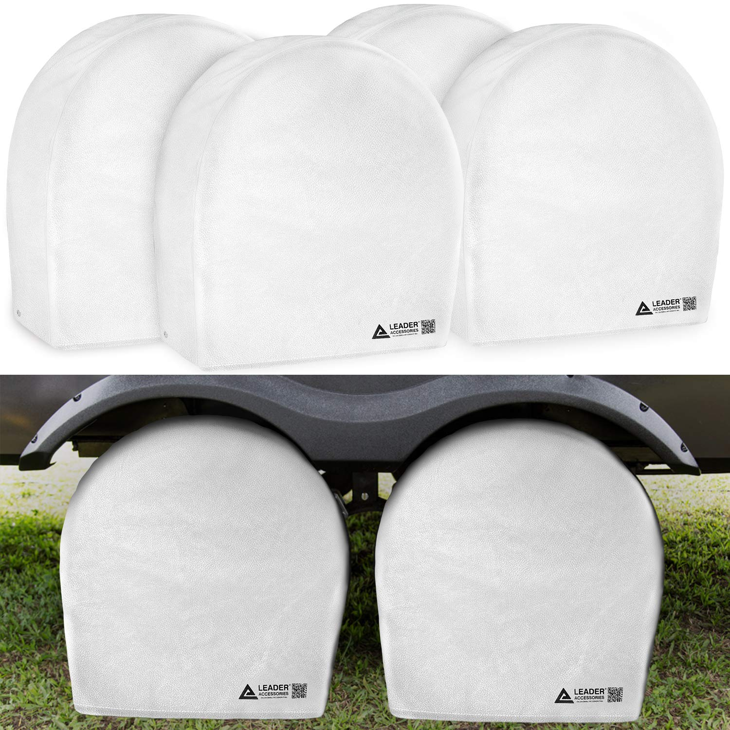 Leader Accessories Tire Covers (4 Pack) Heavy Duty Waterproof Tire Cover Wheel Covers for RV Wheel Travel Trailer Camper Car Truck Jeep SUV Fits 36''-39'' Diameter Tires from Side to Side,White by Leader Accessories