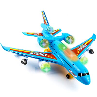Toysery Airbus Airplane Toys for Kids - Bump and Go Action with 360 Degree Rotation - Toy Plane with Attractive LED Flashing Lights and Sounds for Boys & Girls: Toys & Games