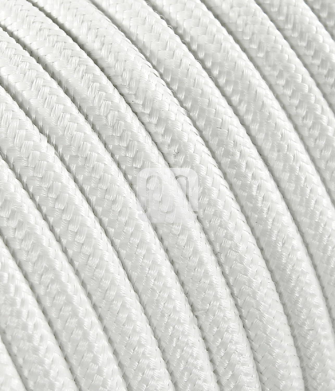 Made in Italy 50 metri C/âble /électrique rev/êtu de tissu color/é blanc ronde 3 x 0,75 pour Lampadaires lampes-abat jour design