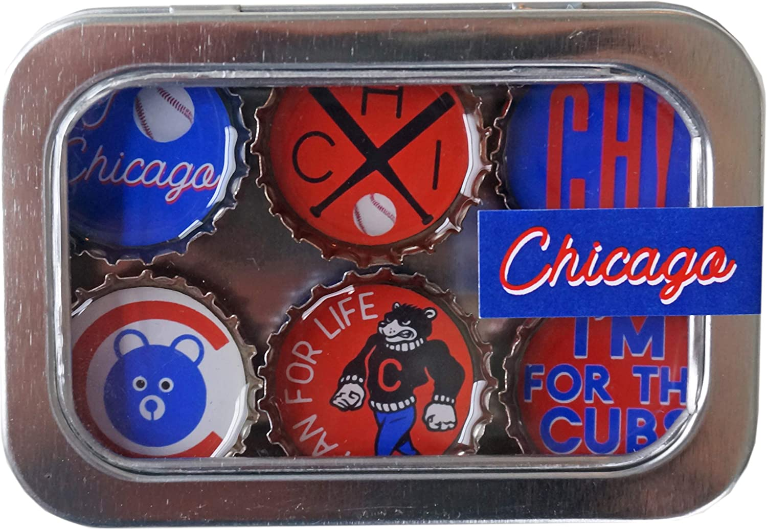 Kate Grenier Designs Chicago Cubs Magnet six pack, Small, Multicolored