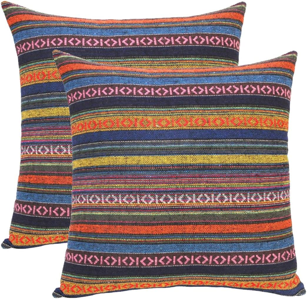 Set of 2 Bohemian Throw Pillow Covers Decorative Boho Mexican Retro Stripe Multicolor Pillow Cases to Brighten Up Your Home, 18x18Inch