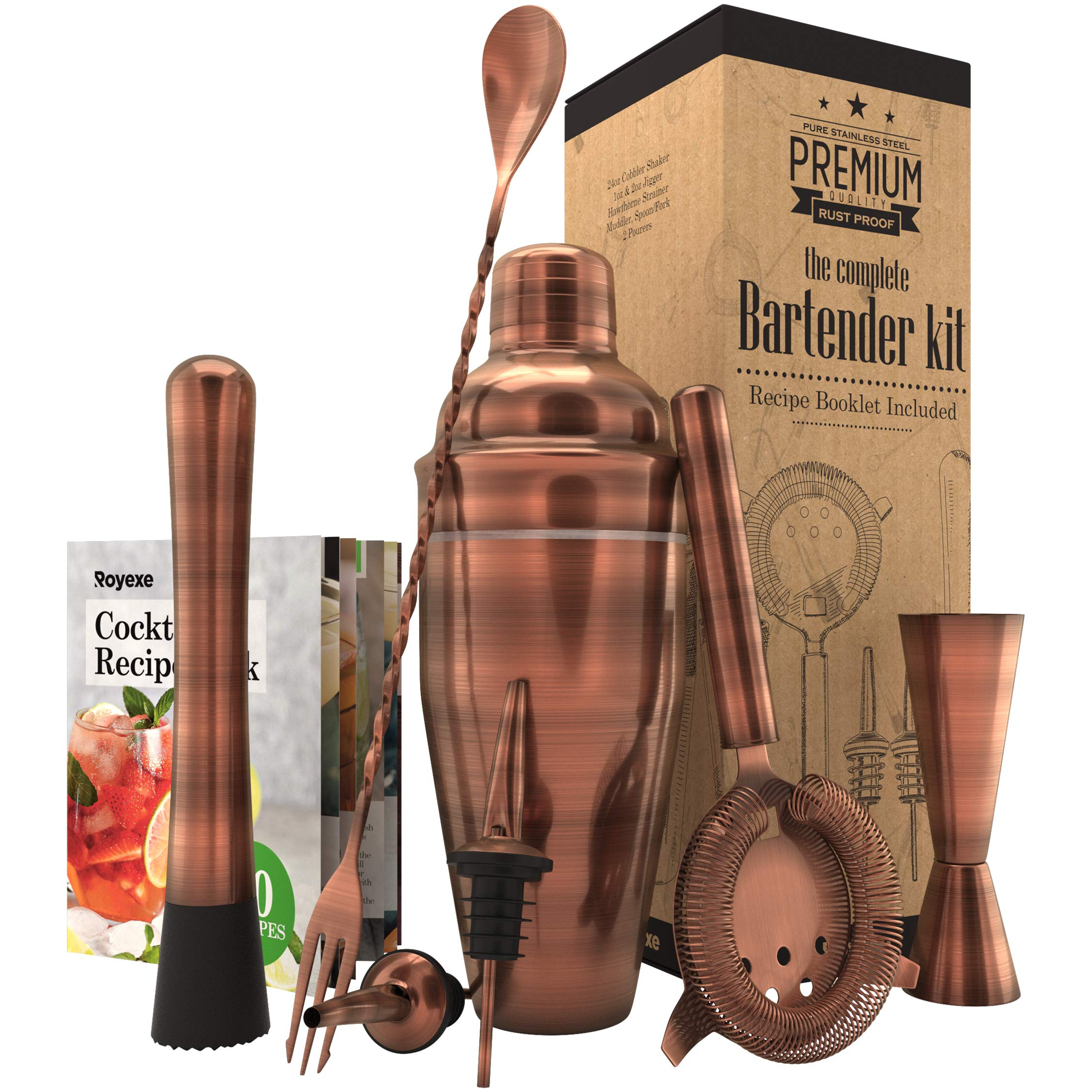 All-inclusive Bar Set | Professional Home Bartender Cocktail Shaker Set | Includes a Recipe Book & All Necessary Bar Tools and Accessories | Impressive Gift for Men! (Brushed Copper) by Royexe