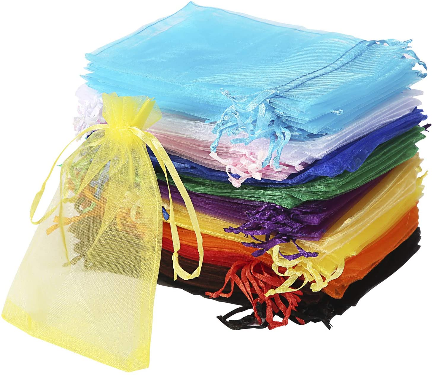 72 pieces Organza Drawstring Pouches Assorted Fancy Colors 2-3 4x3-12 DBX1292F