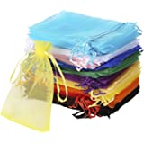 Bouraw 120Pcs Organza Bags 4x6 Inches Mixed Color with Drawstring, Jewelry Pouches Wedding Party Christmas Favor Gift…