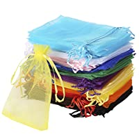 Bouraw 120Pcs Organza Bags 4x6 Inches Mixed Color with Drawstring, Jewelry Pouches Wedding Party Christmas Favor Gift Bags (4x6 inches, Mixed Color)