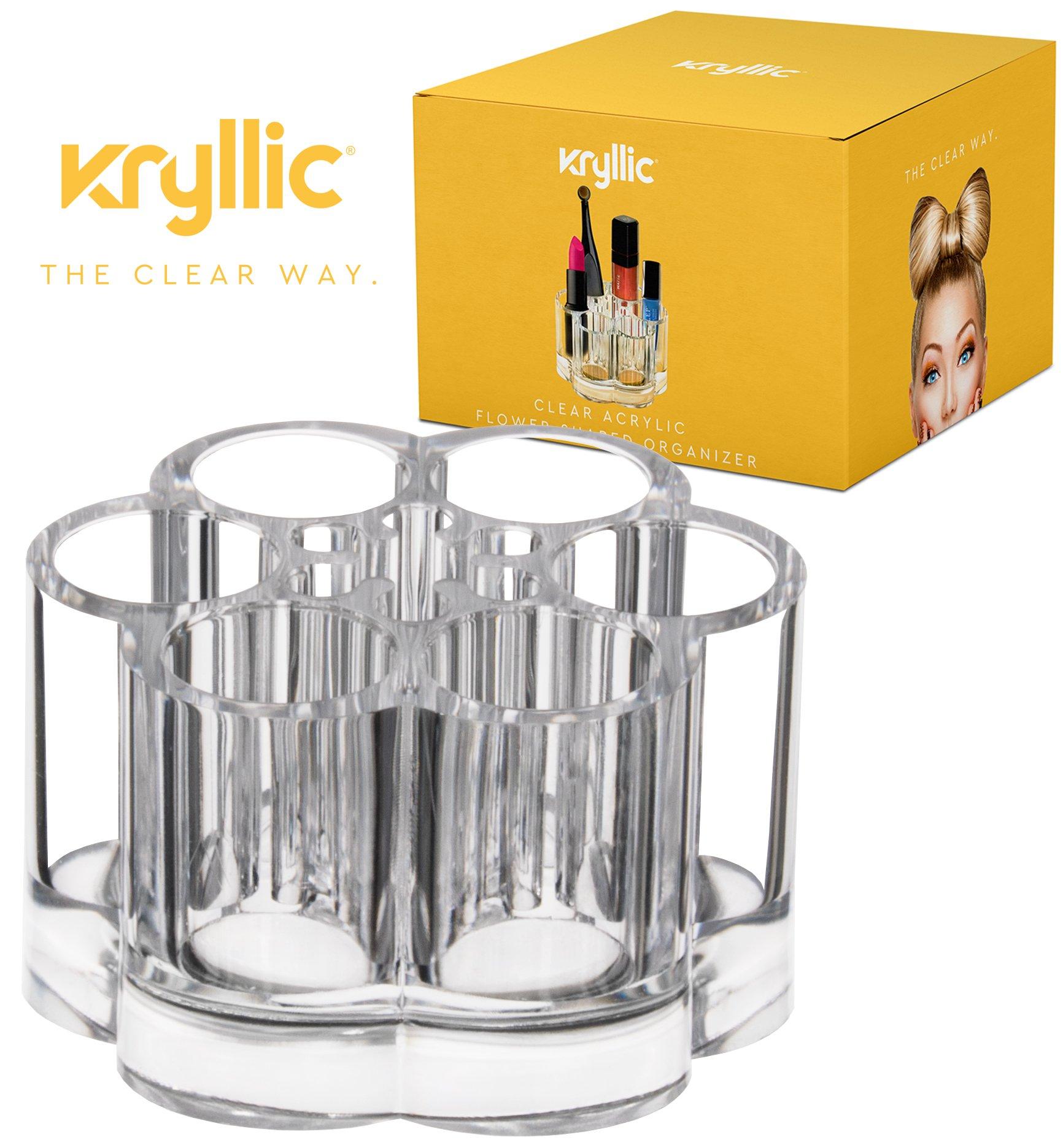 Acrylic Makeup Organizer, Flower Shaped Cosmetic Holder, 7 Slots, By Kryllic