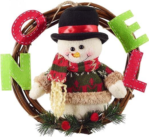 Snowman 23cm Door Wreaths Christmas Home Door Hanger Wall Car Decoration XONOR Christmas Wreath for Front Door