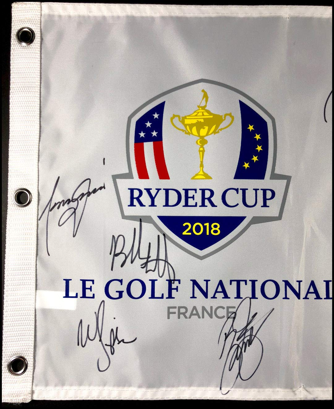 2018 Team Usa Autographed Signed Ryder Cup Field Flag Rickie Fowler Watson JSA Authentic