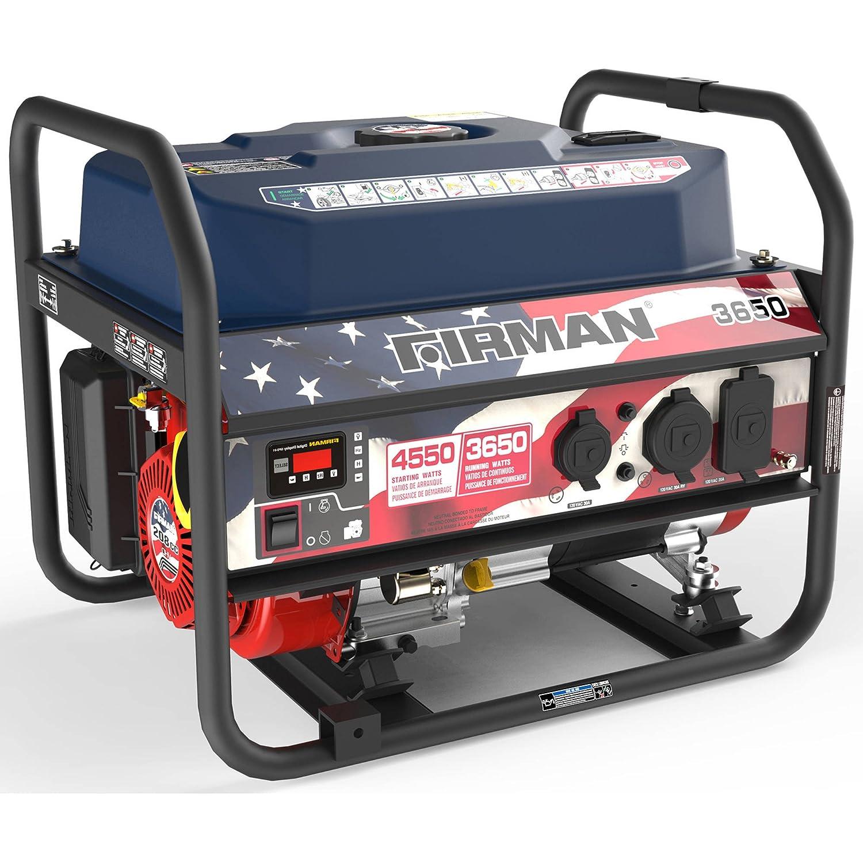 Firman P03611 4550 3650 Watt Recoil Start Gas Portable Generator with Stars and Stripes Print