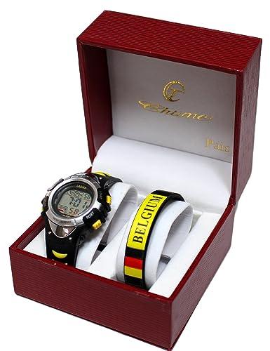 Kit Reloj Niños digitale Plus pulsera Bélgica Diablo Rojo Fan Fútbol: Amazon.es: Relojes