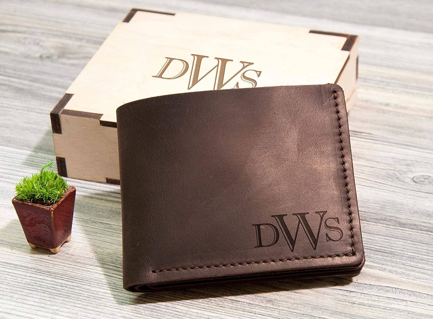 Personalised Classic Tan Leather Wallet Gift For Men Father/'s Day Birthday Xmas