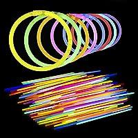 Lumistick 8 Inch Glow Sticks - Bendable Glow Sticks With Necklace and Bracelet Connectors - Glowstick Bundle Party Bracelets (100, Assorted)