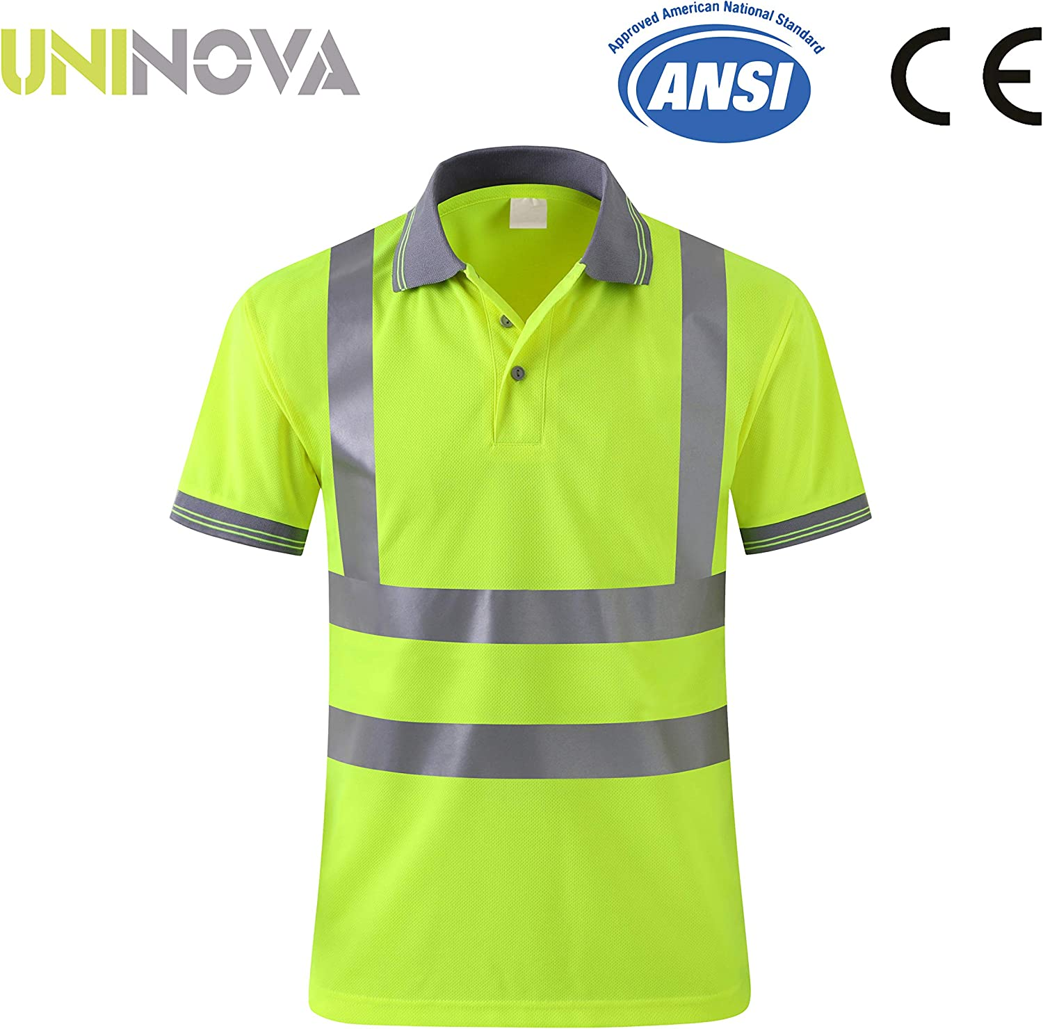 ZUJA Safety Long Sleeve T-Shirt Reflective Stripes Hi-vis Yellow Knitted Polo Bright Construction Workwear for Men and Women.