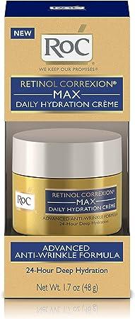 RoC Retinol Correxion Max Daily Hydration Anti-Aging Cr me for 24-Hour Deep Hydration, Advanced Anti-Wrinkle Moisturizer Made with Retinol Hyaluronic Acid, 1.7 oz