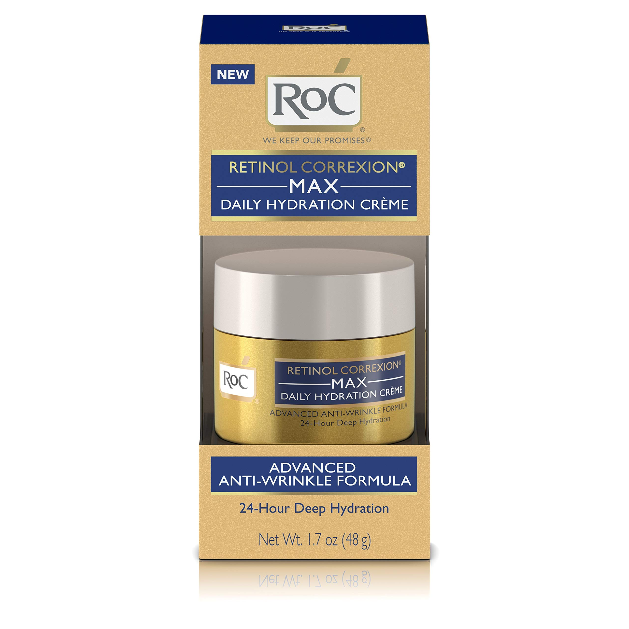 RoC Retinol Correxion Max Daily Hydration Anti-Aging Crème for 24-Hour Deep Hydration, Advanced Anti-Wrinkle Moisturizer Made with Retinol & Hyaluronic Acid, 1.7 oz by RoC