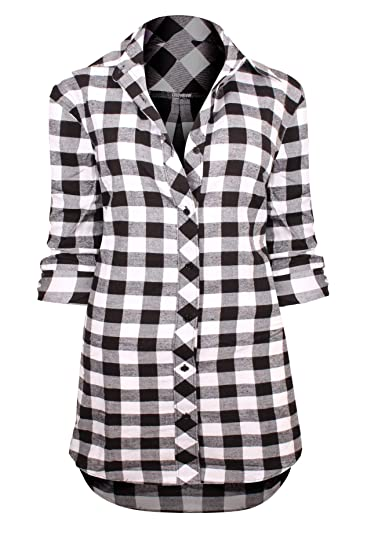 7fdbf7f6ec2 HOT FROM HOLLYWOOD Woman's Checkered Print Oversized Button Up Boyfriend  Fit Flannel Shirt Dress, Black White_k1003, Small at Amazon Women's  Clothing store: