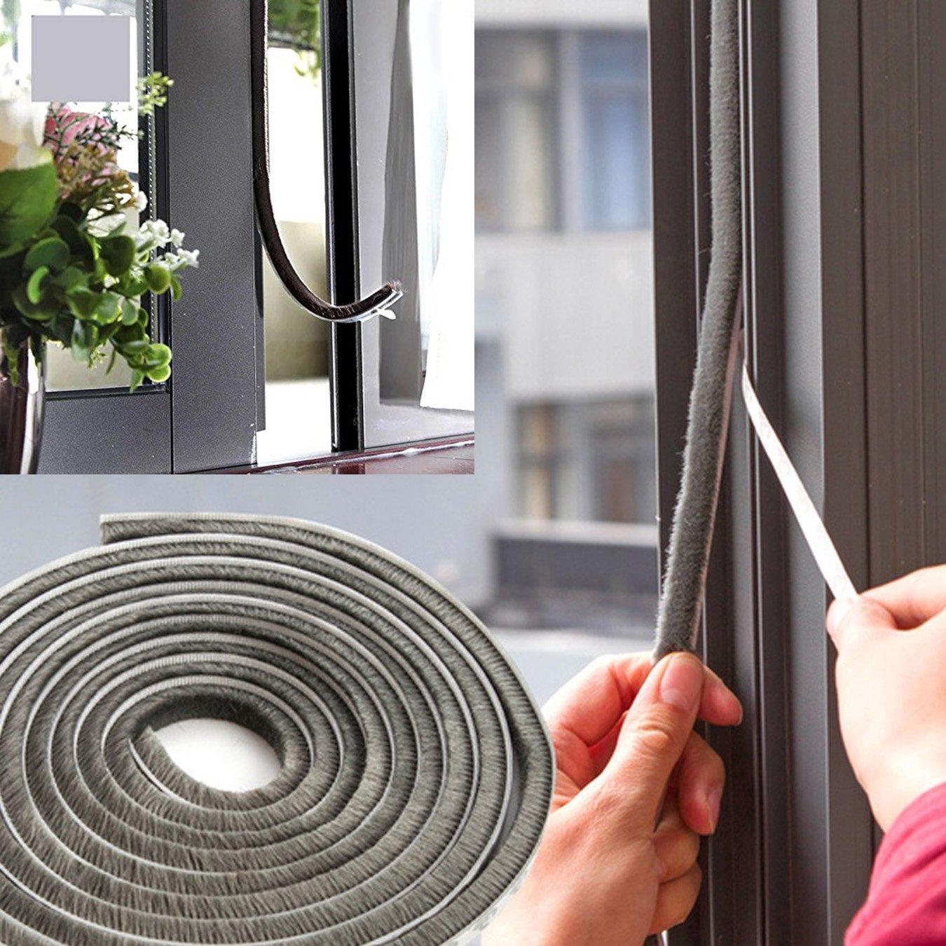 Brown UOOOM 5m Windproof Dustproof Door Window Seal Strip Self Adhesive Brush Strip 9x15 mm