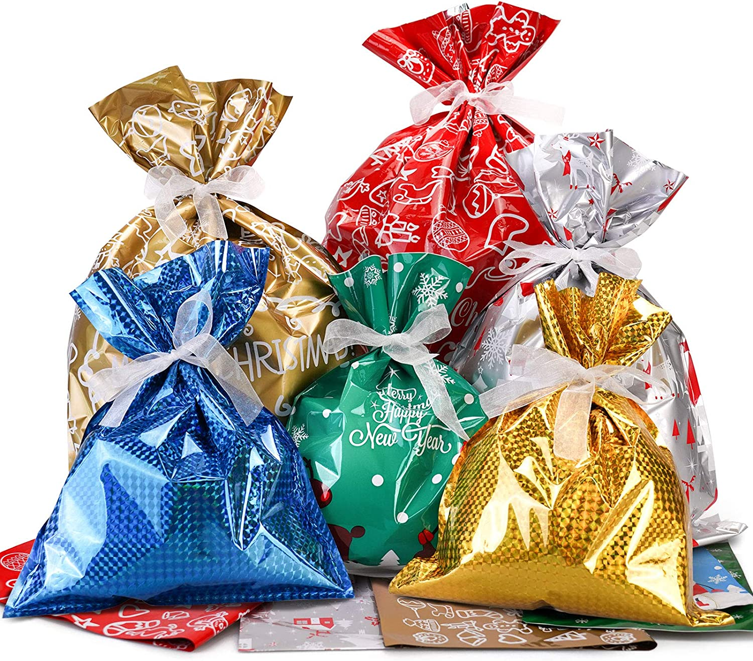 Christmas Goodie Bags with 20 Tags for Xmas Birthday Party Favor RFWIN Christmas Drawstring Gift Bags 20pcs Assorted Present Wrapping Bags