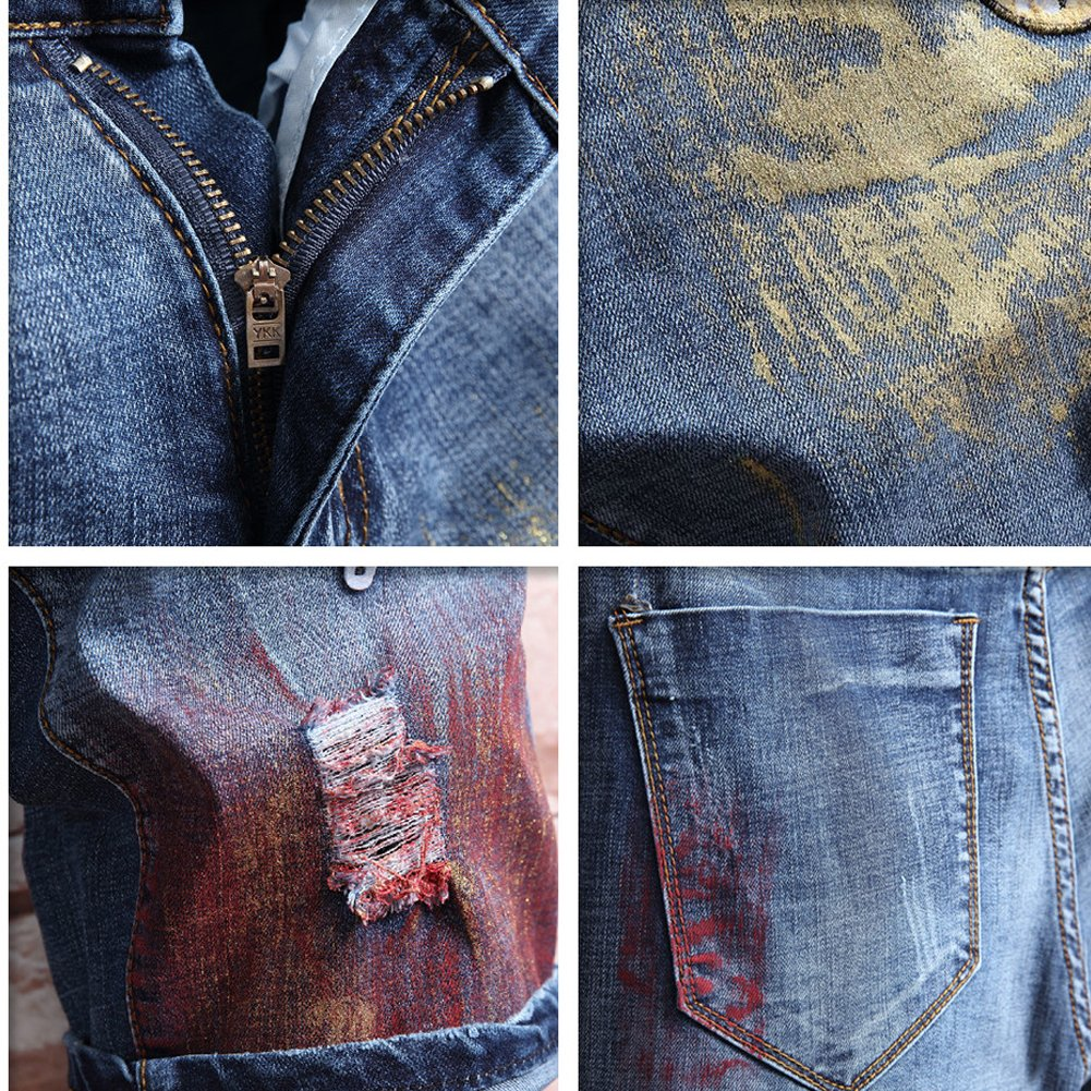 LIYT Mens Summer Fashion Patchwork Dyed Ripped Hole Denim Shorts