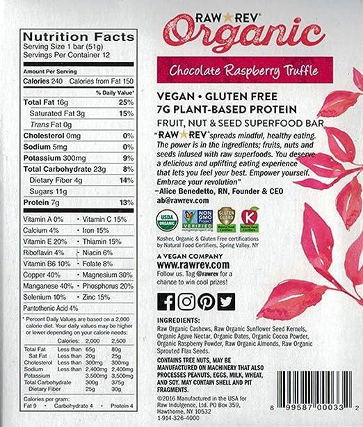 Raw Rev Organic Superfood Bar Chocolate Raspberry Truffle 18
