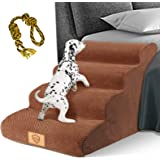 Topmart High Density Foam Dog Steps 4 Tiers,Extra Wide Deep Pet Steps,Non-Slip Pet Stairs,Dog Ramp for Bed,Soft Foam Dog Ladd