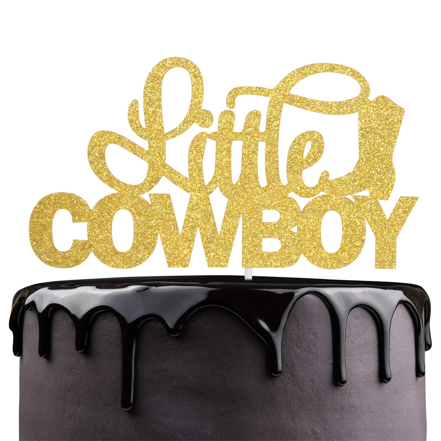 Pleasing Little Cowboy Birthday Cake Topper Gold Glitter Boot Rodeo Cake Funny Birthday Cards Online Alyptdamsfinfo
