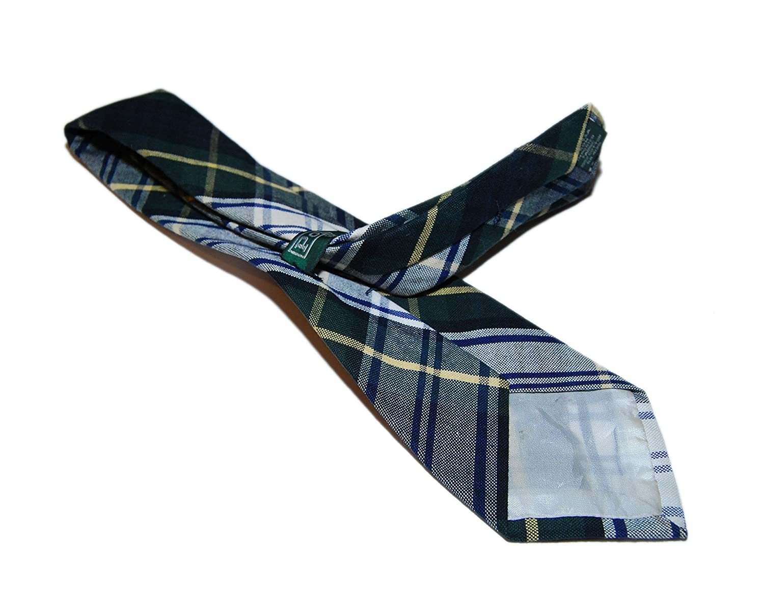 Polo Ralph Lauren Mens Cotton USA Casual Tie Hand Made Plaid Green Navy Yellow