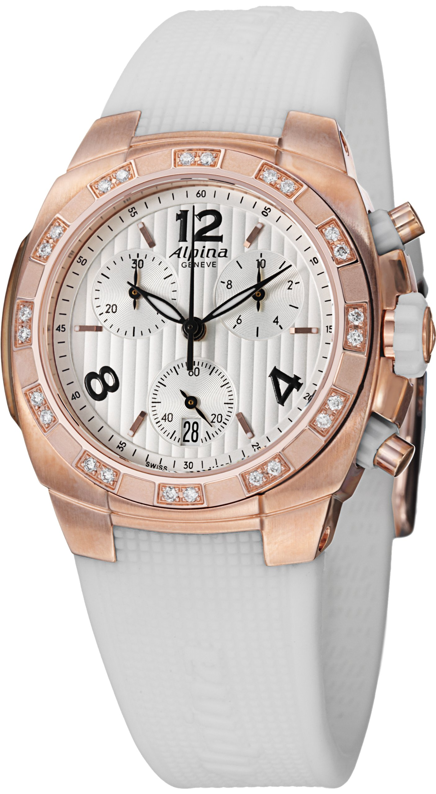 Alpina Avalanche Chronograph Womens White Rubber Strap Rose Gold Plated Diamond Watch AL-350LWWW2AD4 by Alpina