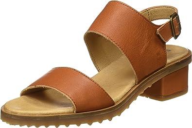 Sandalias de tacón de mujer El Naturalista con cierre de hebilla en color marrón