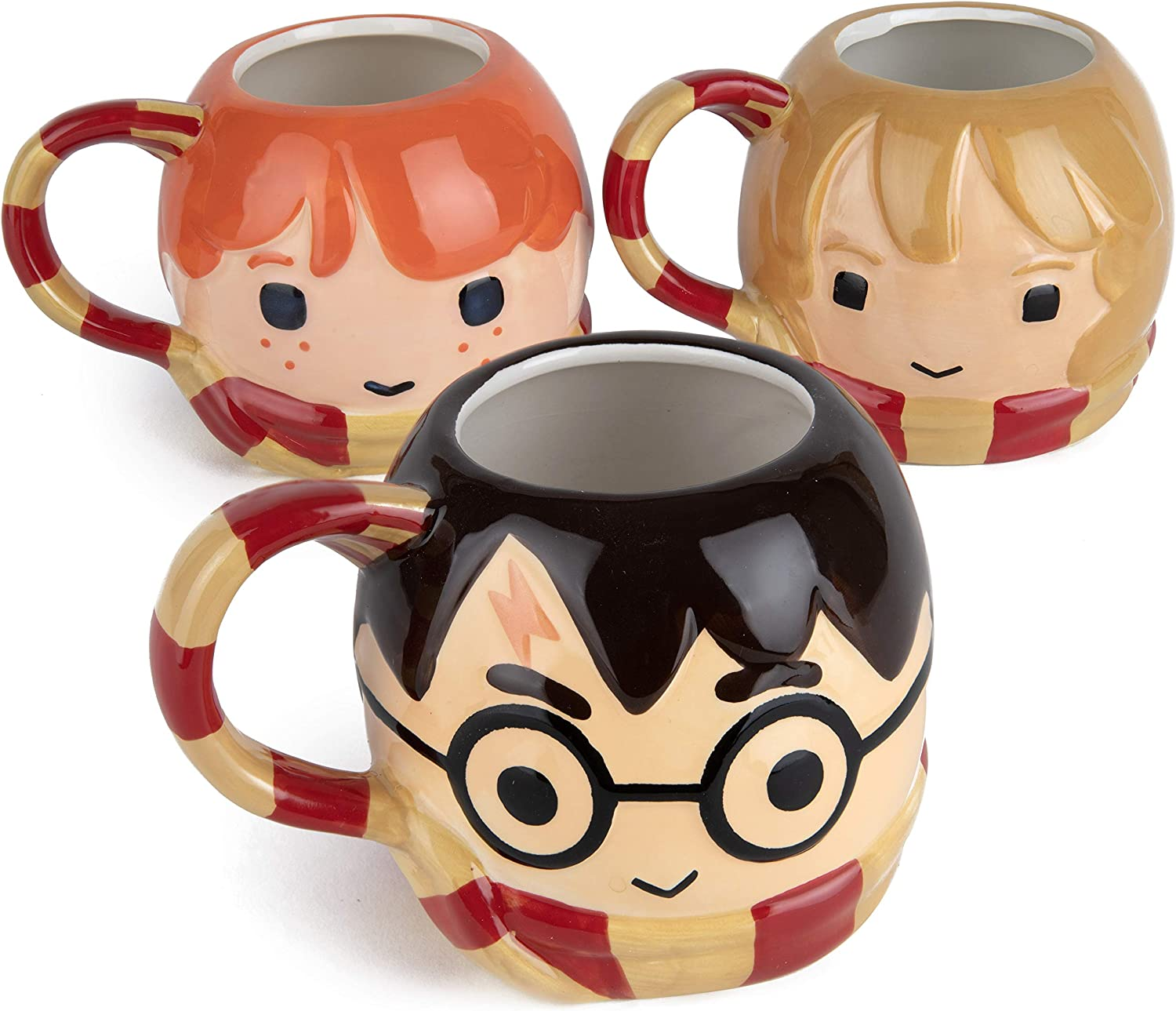 Harry Potter Coffee Mugs, Set of 3 - Chibi Harry, Hermione and Ron with Gryffindor Scarf Handle - Ceramic - Large, 24 oz