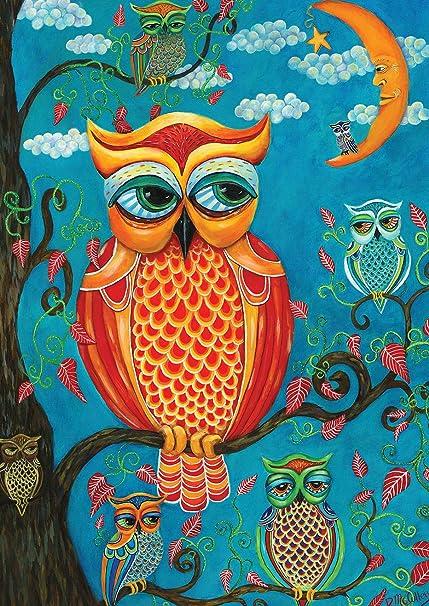 Toland Home Garden Wise Guys 28 X 40 Inch Decorative Psychadelic Owls House  Flag