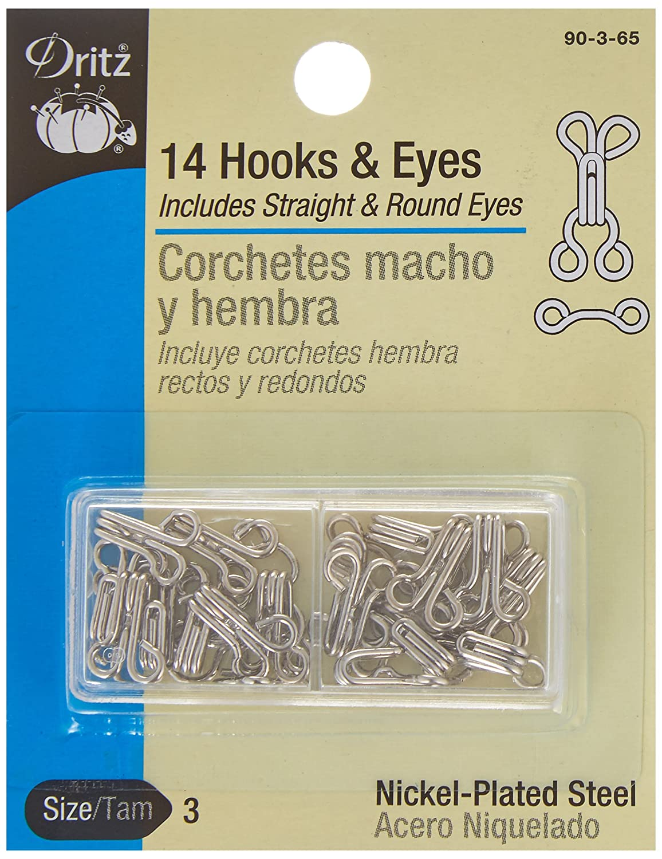 Dritz Hooks & Eyes Nickel Size 3, 14 count 91262