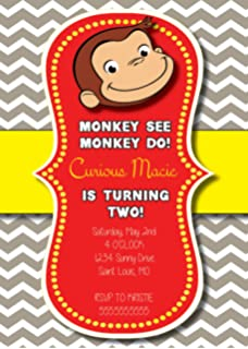 Amazon curious george baby shower invitations w envelopes 8ct customized curious george birthday invitation filmwisefo Image collections