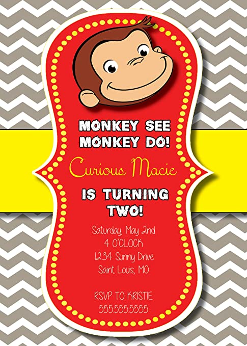 Amazoncom Customized Curious George Birthday Invitation Toys