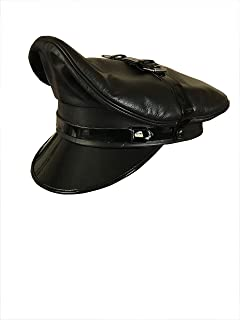 Real Cowhide Leather Biker,Army,Muir,Police Gay Black Red Trim  Chain+Strap Cap
