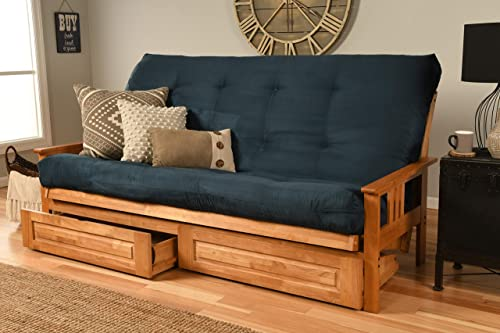 Kodiak Furniture Monterey Queen-size Futon, Storage Drawers, Butternut Finish with Suede Navy Mattress