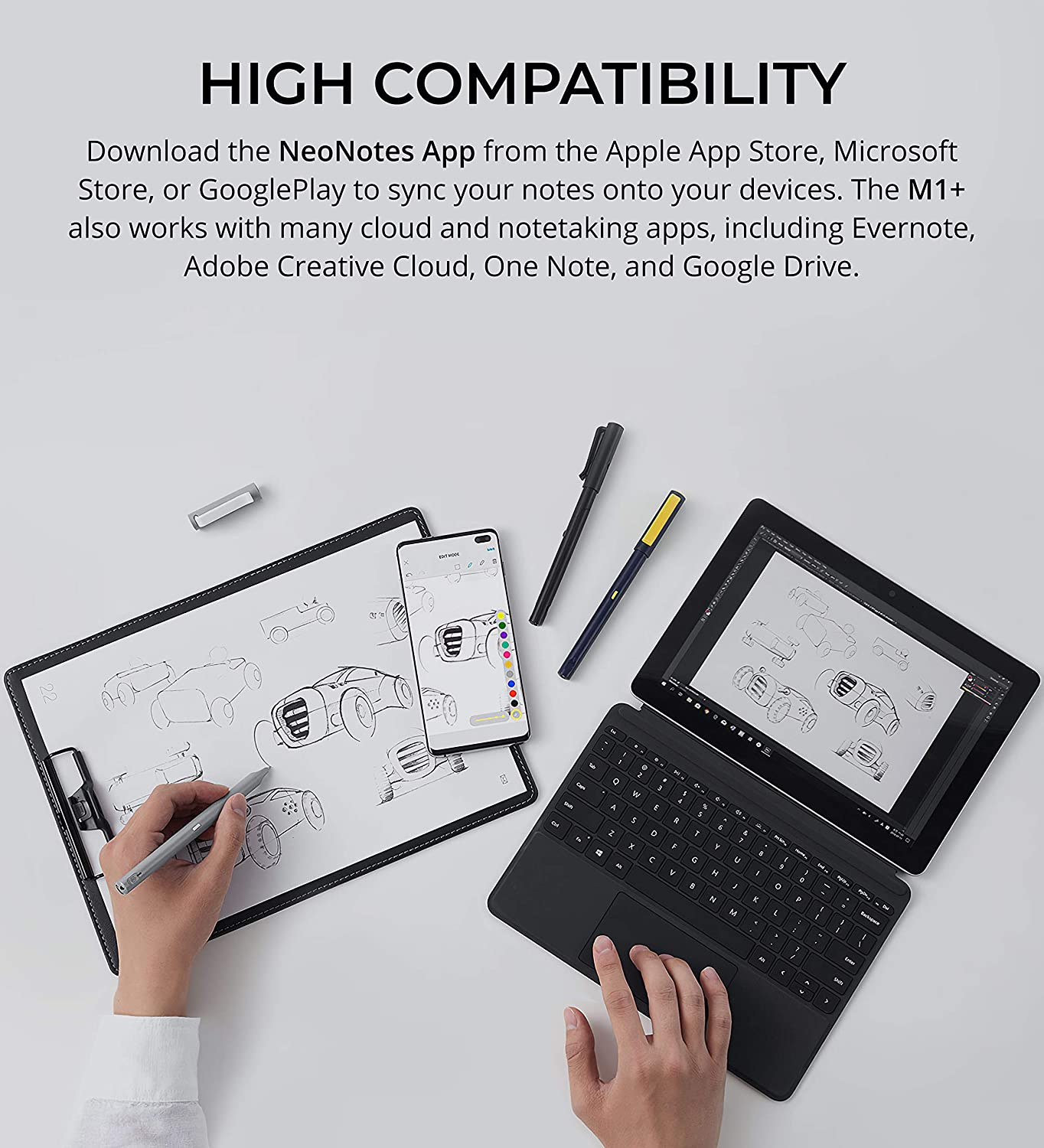 Neo Smartpen M1+ with Neo Notes and PaperTube Companion App Tablets Bluetooth Pen Digitizing Handwriting to Smartphones Black and Computers