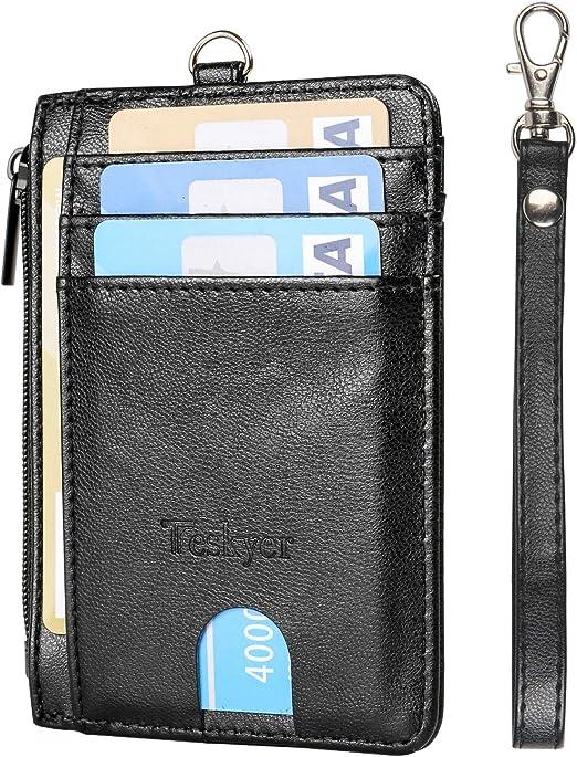 Slim Minimalist Front Pocket RFID Blocking Leather Wallets Credit Card Holder with Zipper Pocket for Men Women-Rose Gold