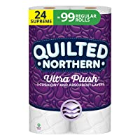 Quilted Northern Ultra Plush Toilet Paper, 24 Supreme Rolls, 24 = 99 Regular Rolls...