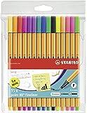 Stabilo® Point 88 - portafolios, 15 colores, juego de carteras de 15 colores