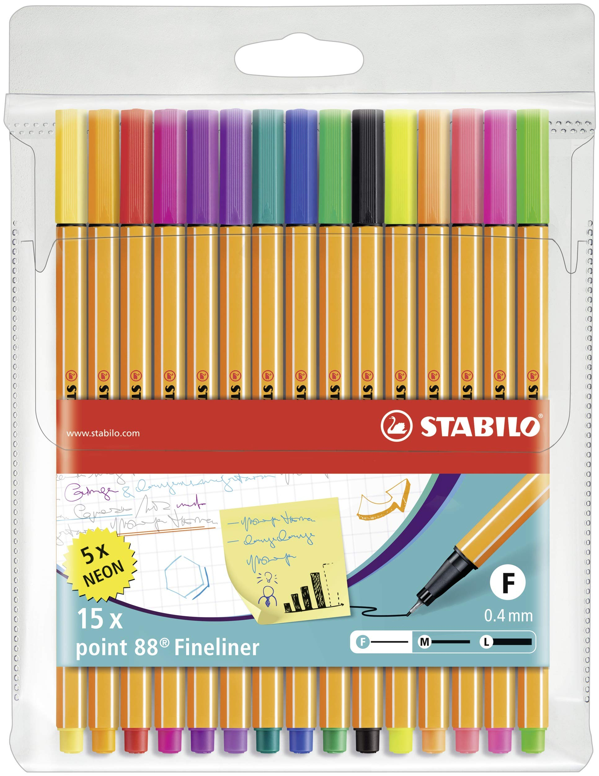 Stabilo Point 88 Wallet, 15-Color Set - 15-Color Wallet Set by STABILO