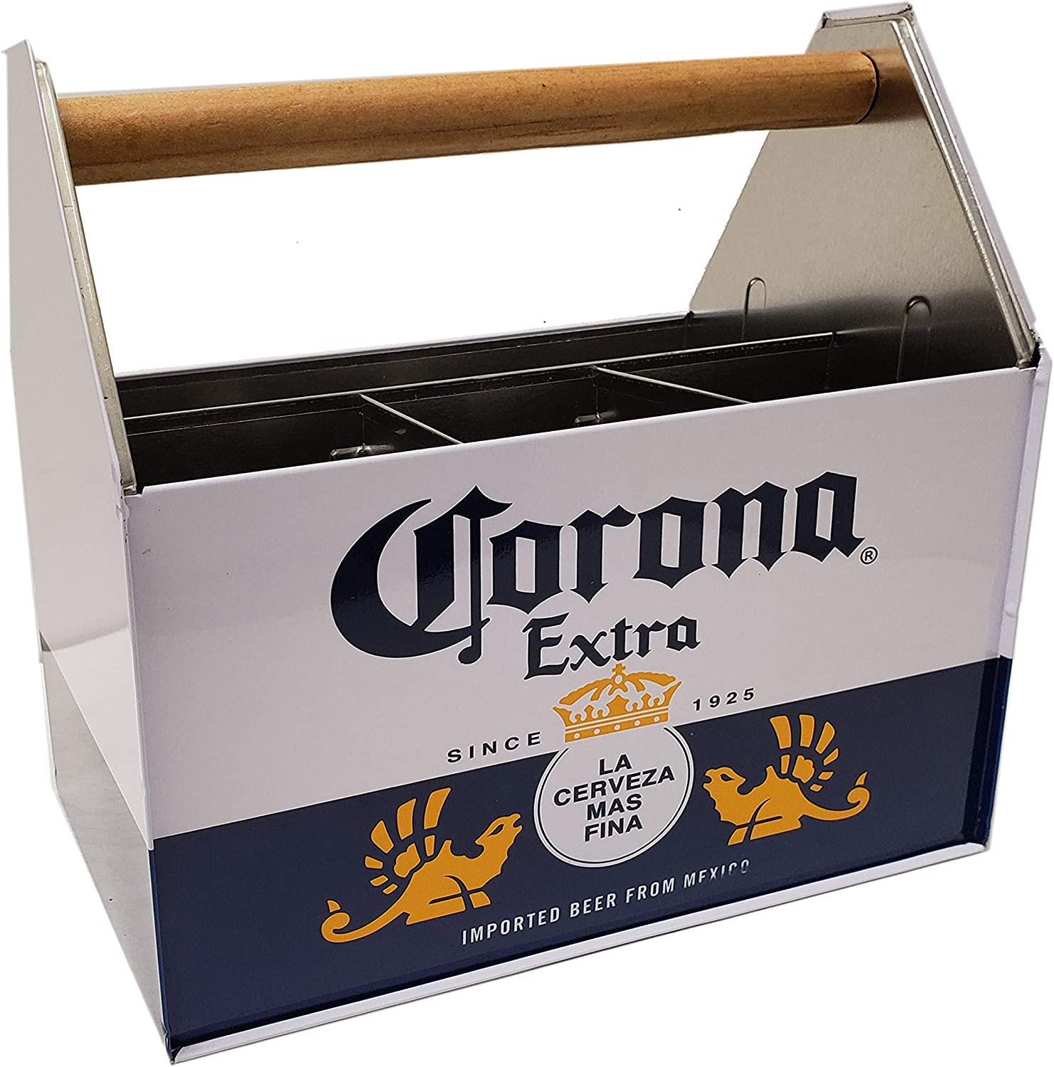 The Tin Box Corona Utensil Caddy with Handle, Black and White