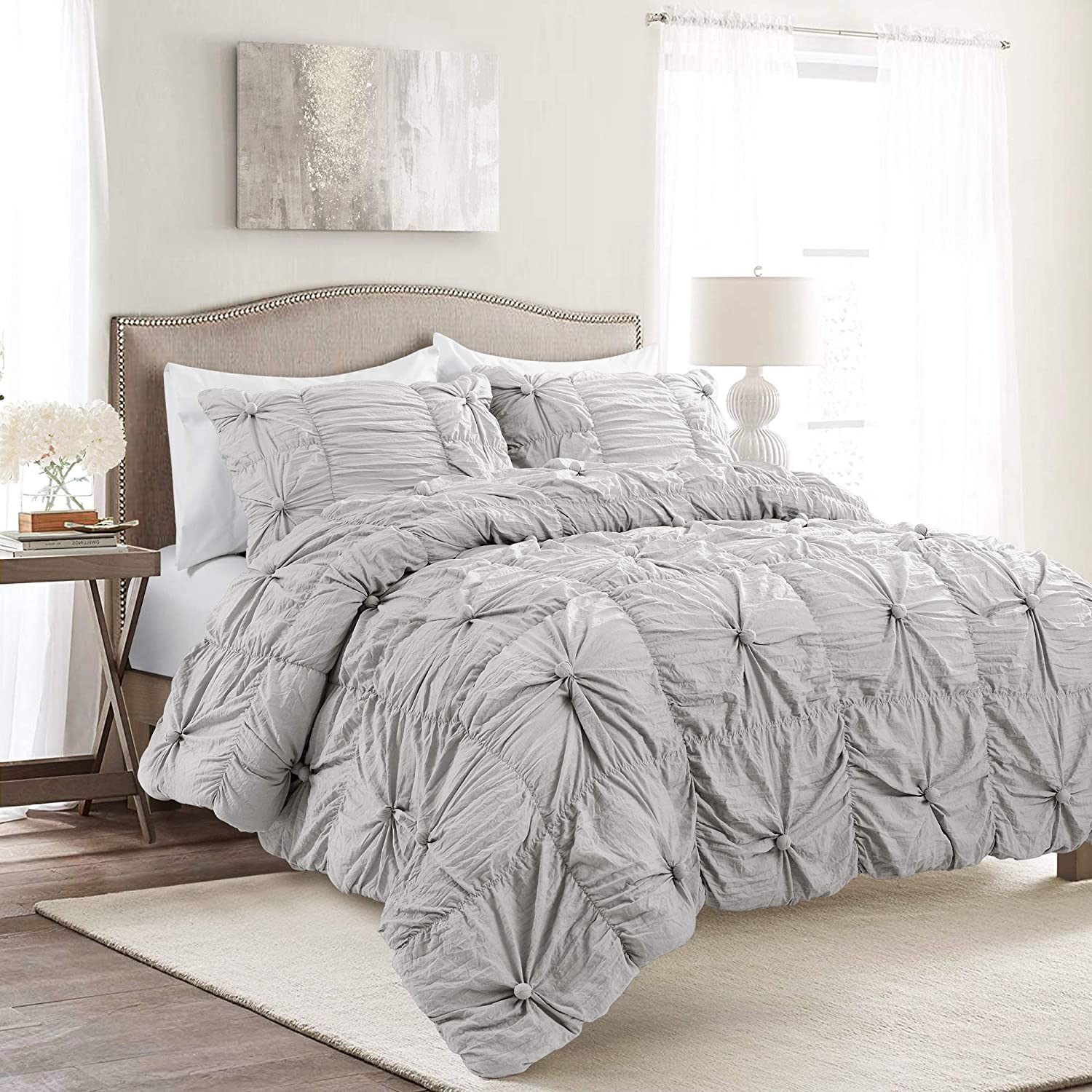 Lush Decor Bella Comforter Set Shabby Chic Style Ruched 3 Piece Bedding with Pillow Shams-Full Queen-Light Gray