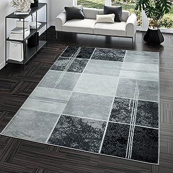 019b40308c474d Tapis Prix Avantageux Carreau Design Moderne Tapis pour Salon Gris Noir  Super Prix, Dimension:120x170 cm