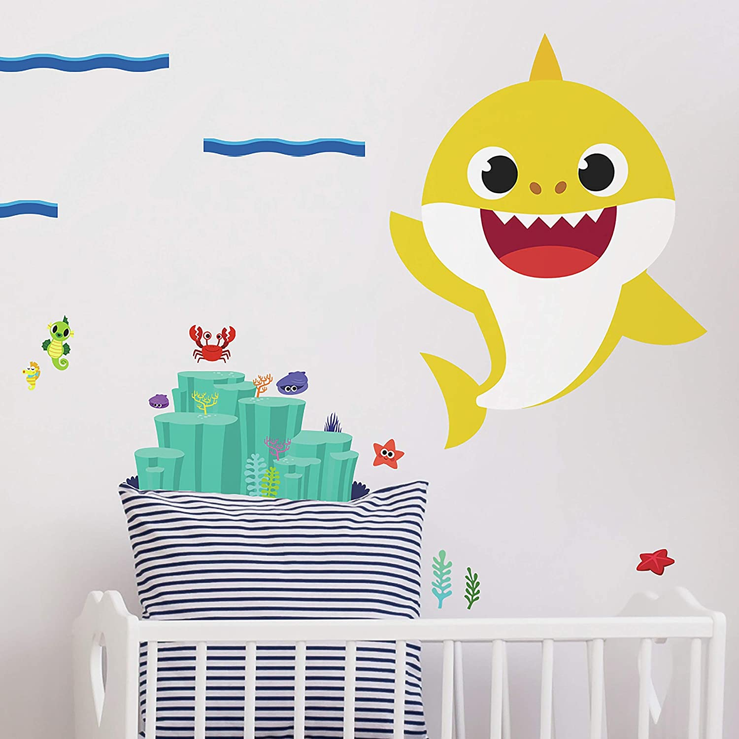 RoomMates Baby Shark Peel And Stick Giant Wall Decals | Yellow Kids Room Decor